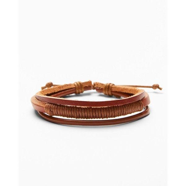 Express Multi-Strand Wrap Bracelet (€6,24) ❤ liked on Polyvore featuring men's fashion, men's jewelry, men's bracelets, brown, mens brown leather bracelets, mens rope bracelet, mens watches jewelry, mens bracelets and mens cord bracelet