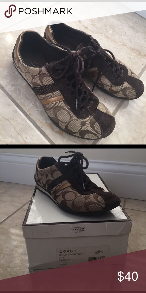Coach tennis shoe Coach tennis shoe size 7 in brown. katelyn style. Very good condition.  I feel the shoe is a snug fit for a 7, may fit a 6.5 to 7 best. coach Shoes Sneakers
