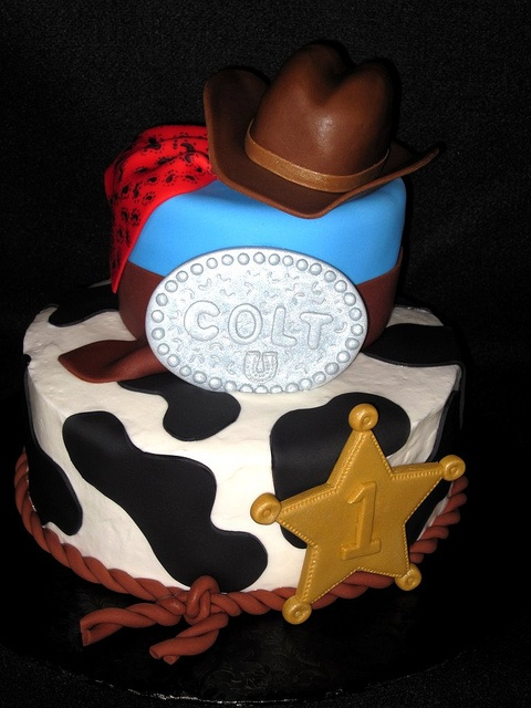Cowboy Birthday Cake; likes the cow print