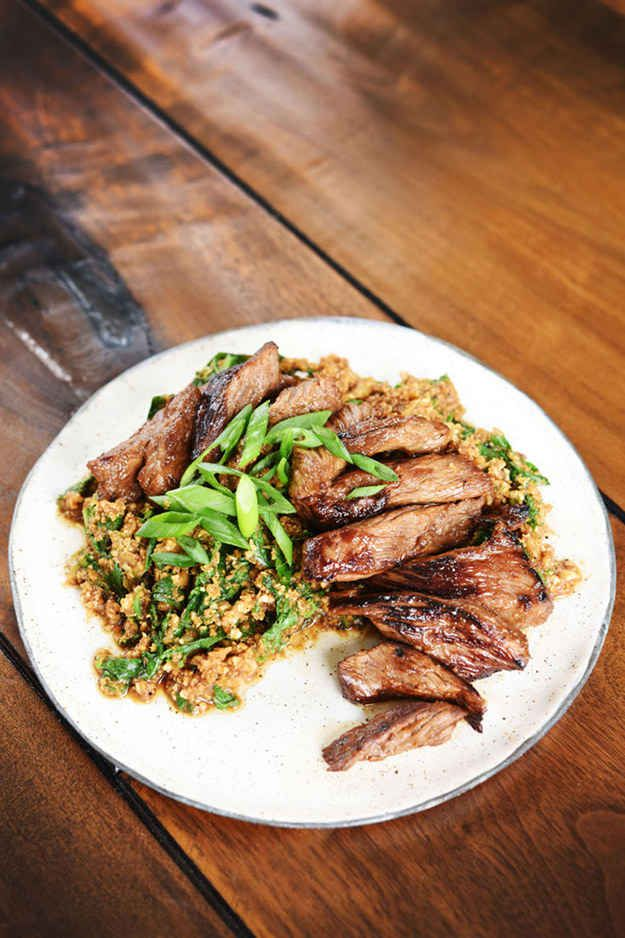 """Marinated Flank Steak with Cauliflower """"Rice"""" and Mustard Greens - lowFODMAP substitute mashed celery root for cauliflower"""