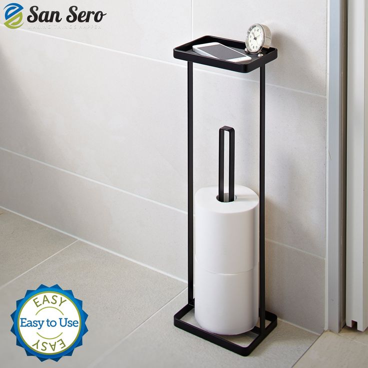 Amazon.com - BEST Toilet Paper Holder - with 5 Star Rating + Lifetime Guarantee | Japanese Design - Stores 3 X Toilet Rolls - Solid Metal Construction with Square Base for Balance - Unique Special Tray Top Design | Ships today with Amazon.com -