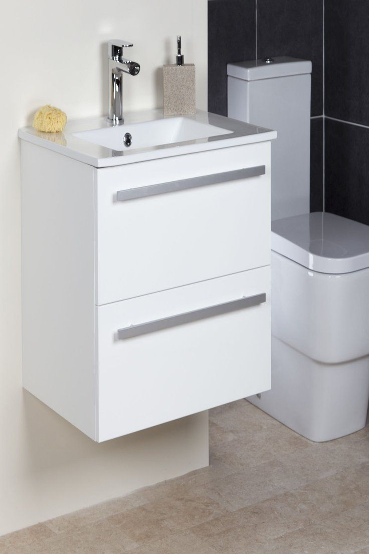 600mm Bathroom Vanity Unit Basin Storage 2 Drawer Cabinet Furniture White Gloss Wall Hung Vanity Bathroom Vanity Units Wall Hung Bathroom Vanities