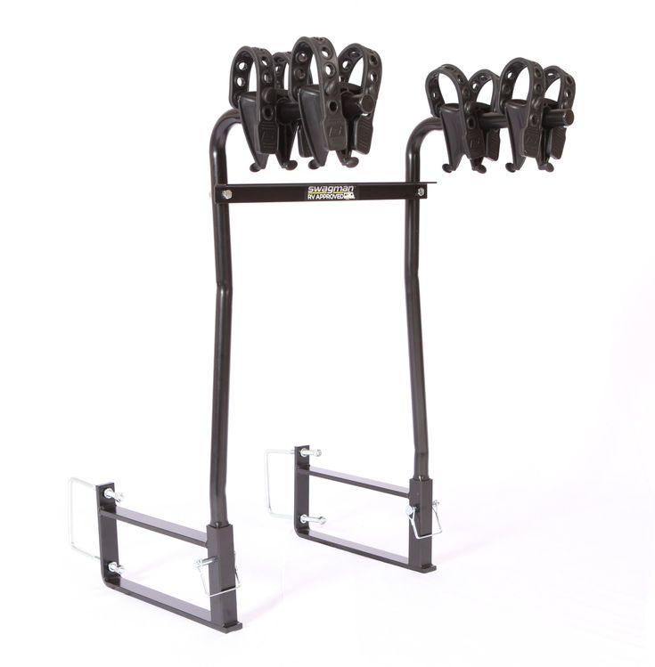 Swagman Bicycle Carriers Around The Spare Deluxe Rv Bike Rack. Carries 1 or 2 bikes. Fits 4-4.5 inch square continuously welded steel bumpers. Mounts around most spare tires. Anti-sway cradles prevent bike-to-bike contact. Loads up to 30lbs. Per bike.