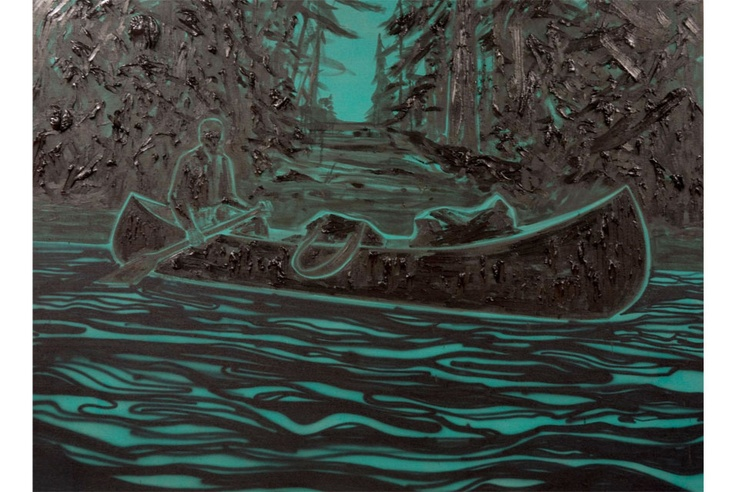Canadian artist..Kim Dorland, The Painter in His Canoe, 2013. Amazing piece, but you've got to see it 'live' as with all art :)