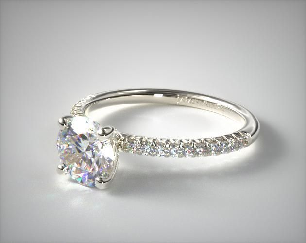 56252 engagement rings, pave, 14k white gold petite pave engagement ring flush fit item - Mobile