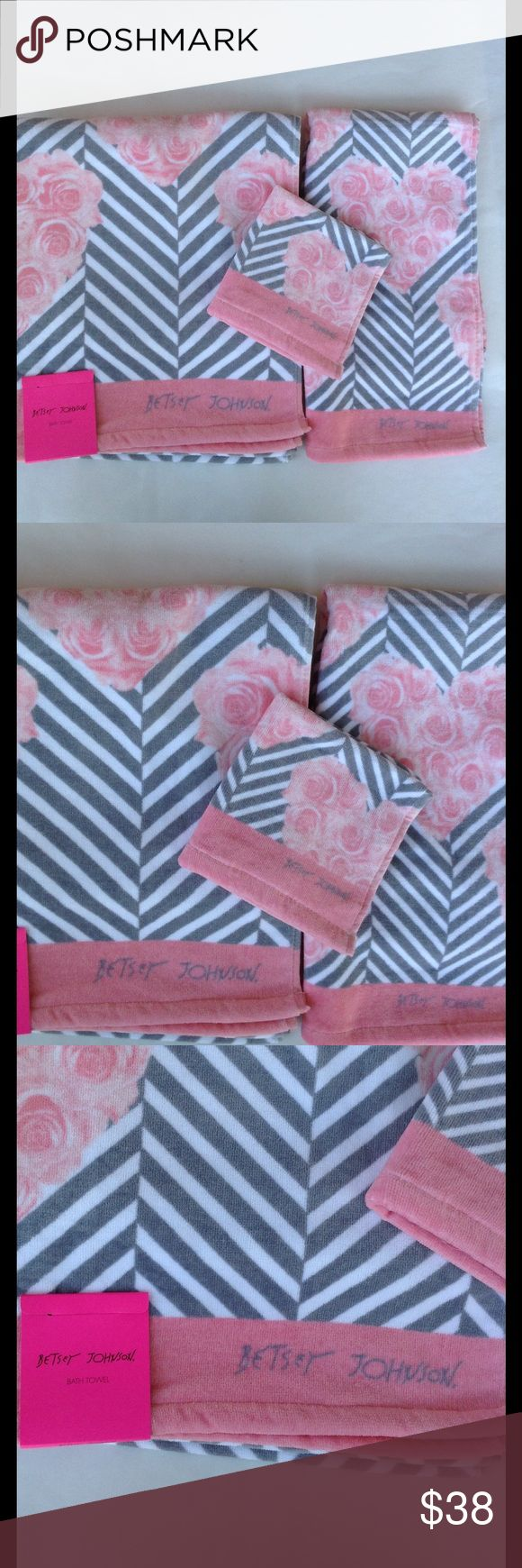 New Betsey Johnson 3 towel set hearts & stripes Brand-new Betsey Johnson towels set designed with roses hearts stripes Betsey Johnson logo bath towel washcloth and. Hand towel 100% cotton brand-new with tags's beautiful for Spring and summer please ask any questions Betsey Johnson Other