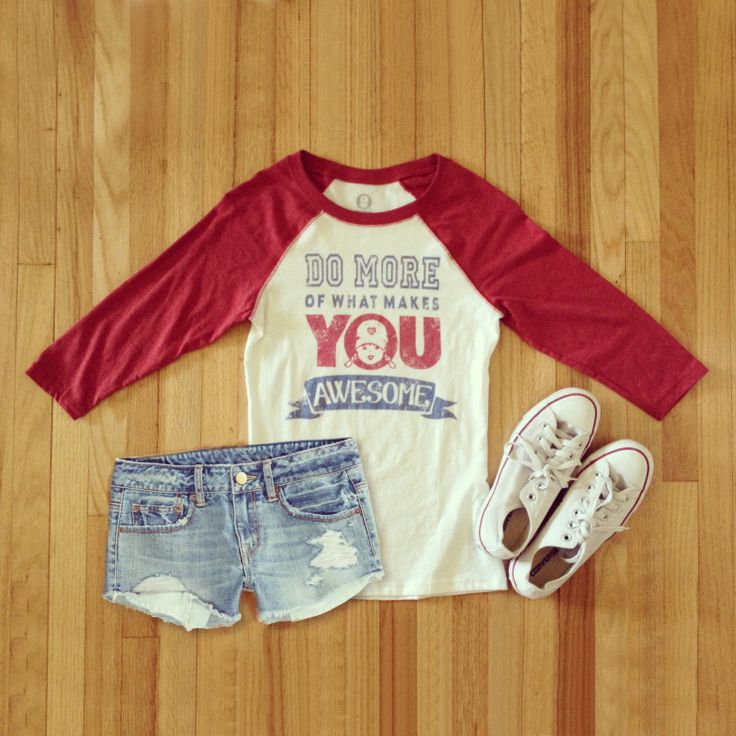 "Tomboy style ""Do More Of What Makes You Awesome"" vintage baseball tee, outfit ideas, motivational quote"