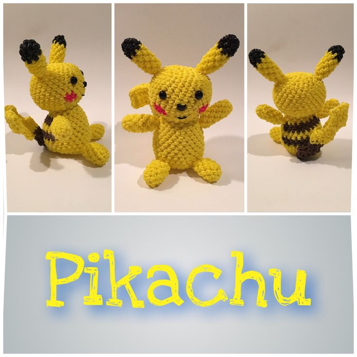 Pikachu (Pokémon) Rubber Band Figure, Rainbow Loom Loomigurumi, Rainbow Loom…