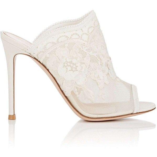 Gianvito Rossi Women's Giada Lace & Mesh Mules ($1,245) ❤ liked on Polyvore featuring shoes, white, mesh slip on shoes, slip-on shoes, mule shoes, white high heel shoes and high heel shoes
