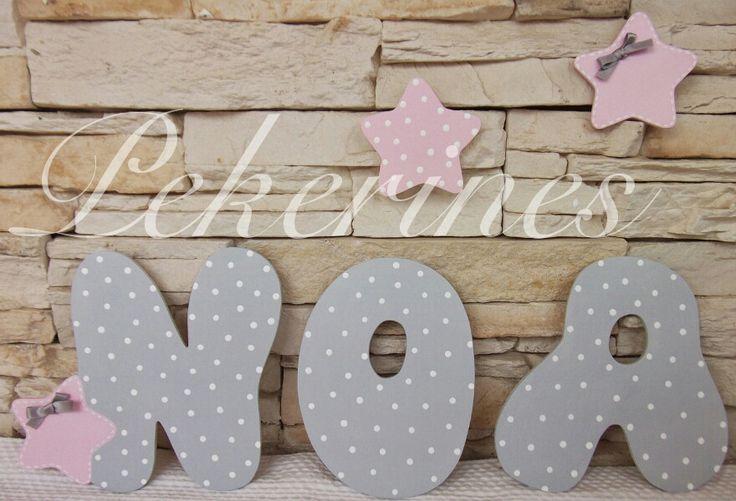 Decoraci n infantil pekerines letras de madera gris y - Letras de madera para decorar ...