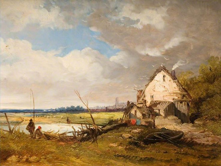 James_Netherlands-Anglers_By_A_Cottage_On_A_River_Bank