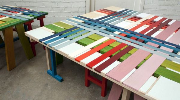 Furniture:Inspiring Furniture For Home Design With Colorful Plaid Bench Ideas And Looks Funny Interesting Bench Design with Colorful Strips ...