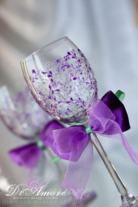 Purple copas de vino de la boda / de la boda tostado gafas / vidrios de la boda