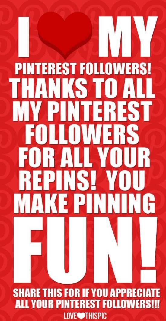 Thank you all! Because of you, heb ik al zo veel volgers, die mijn borden blijkbaar leuk vinden. Ik repin zelf veel andere pins want er zijn zoveel leuke pins!