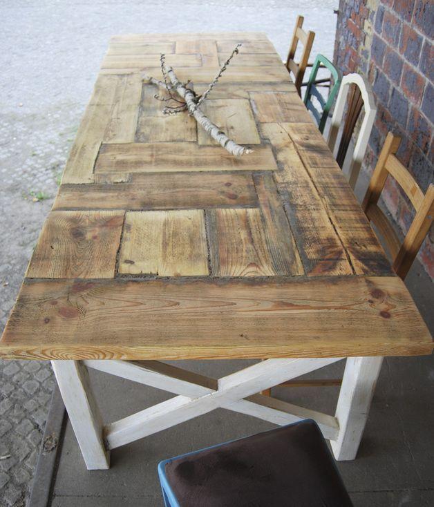 Esstische Tisch Im Landhaus Stil Aus Bauholz Liv Aus
