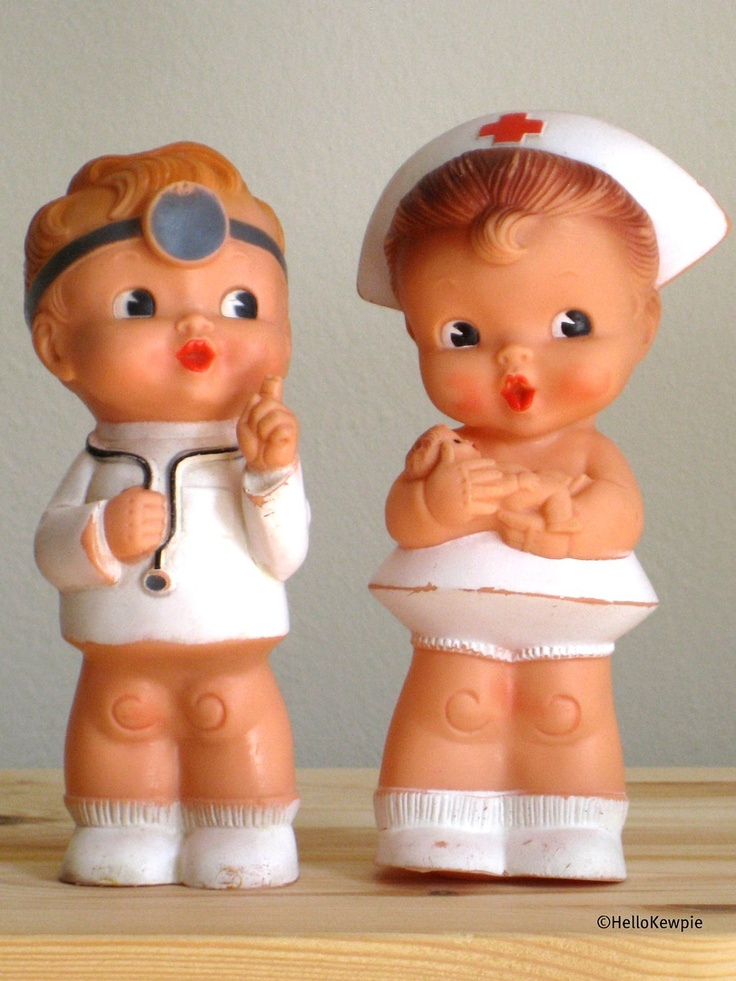 RESERVED Vintage Rubber Doctor and Nurse Dolls Set by HelloKewpie