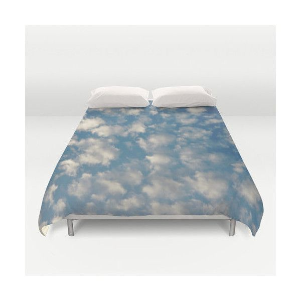 POPCORN CLOUDS Duvet Cover Photo Sky Clouds Blue White... ($99) ❤ liked on Polyvore featuring home, bed & bath, bedding, duvet covers, lightweight bedding, queen duvet insert, lightweight duvet insert, queen bedding and king size bedding