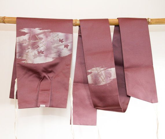 Purple Tsuke Obi Japanese Vintage 2 piece Obi, Kimono Accessory Sash Belt, Table Runner, Asian Home Wall Decor, Japanese Art, Gifts Under 50