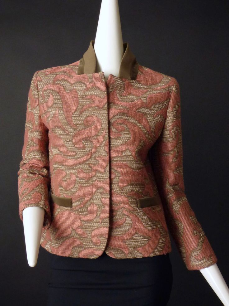 ETRO-Taupe & Pink Wool Brocade Suit Jacket, Size-10
