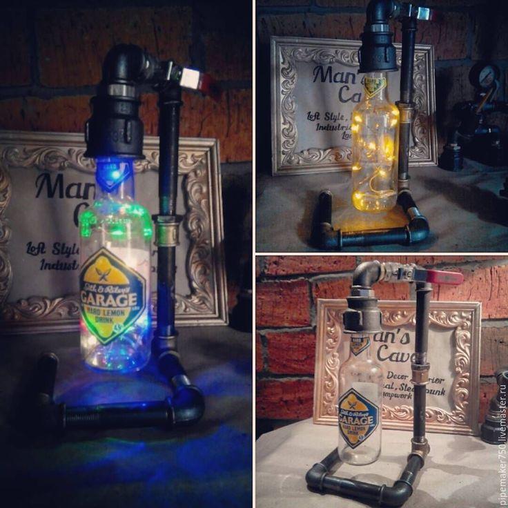 Купить Лампы из водопроводных труб - черный, лампа настольная, лампа, ручная работа, бутылка, металл