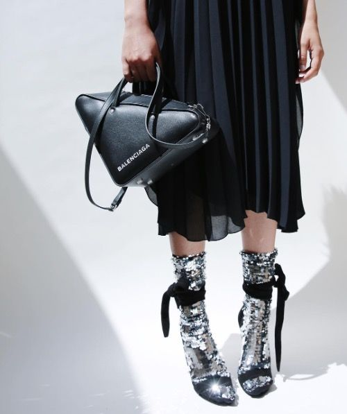 BALENCIAGA triangle bag / OFF WHITE sequin silver socks