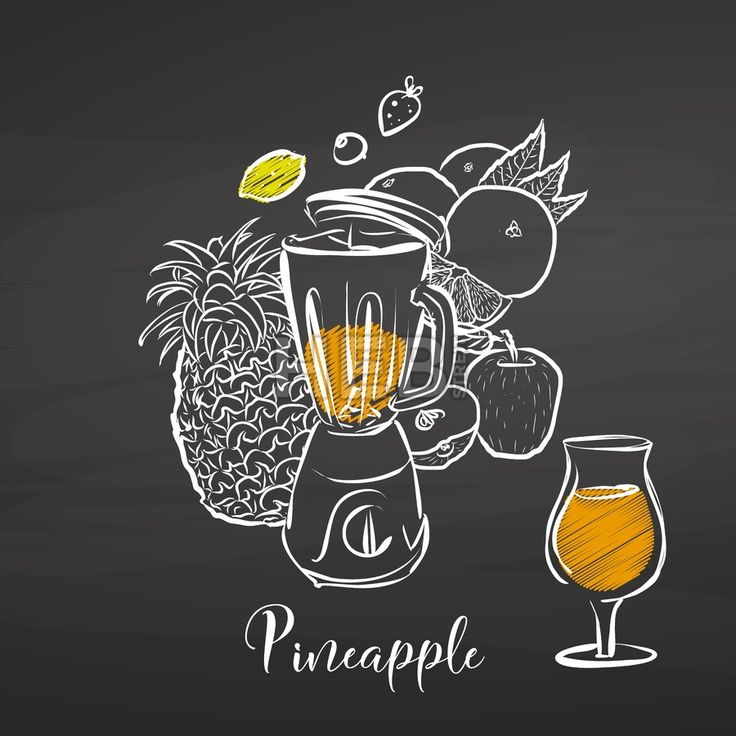 Pineapple smoothie scene on chalkboard. Hand drawn healthy food sketch. Black and White Vector Drawing on Blackboard. ... ... by #Hebstreit  #stockimage #design #sketch #illustration