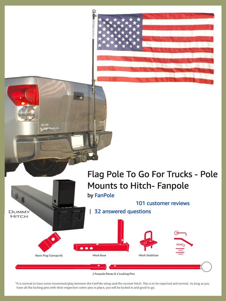 Flagpole Receiver Hitch Trucks Flag Pole Pop Up Truck Campers