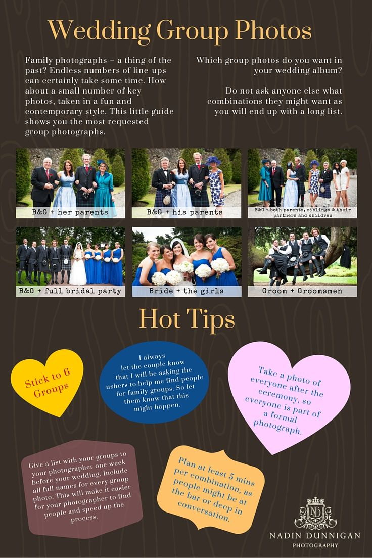 Family Group Photographs at Weddings. Here's a little guide on the typical family group photographs. Try and have only a small list of group photos, as this will make the break between ceremony and dinner run smoother. The typical combinations are: B&G + her parents B&G + his parents B&G + both parents, siblings, partners, kids B&G + Bridal Party (Best Man, Ushers, Bridesmaids, Flowergirls, Page Boys) Bride + Bridesmaids Groom + Groomsmen