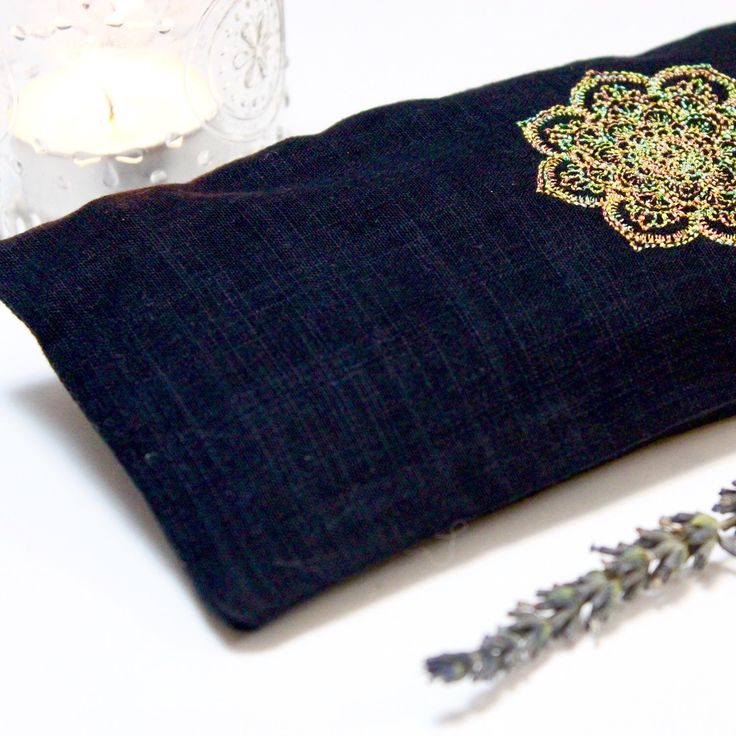 Lavender Eye Pillow with washable case, decorated by embroidery Mandala Golden thread, filled with lavender (harvest 2017) and flax seeds. The best for relaxation, yoga, massage. Idea for Christmas gift, birthday, housewarming, baby shower, wedding favor.