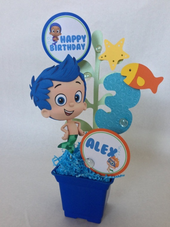17 best images about birthday party ideas on pinterest thomas the train ballerina birthday - Bubble guppies center pieces ...