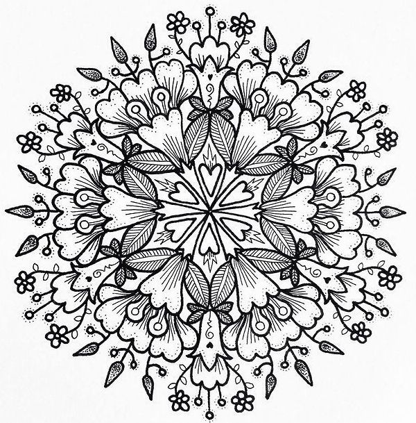 Mandala Coloring Pages Adult Books Art Floral Printable Therapy Zentangle By Hobbit Pyrography Patterns
