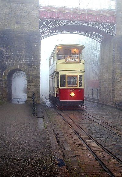 Foggy Tramway, Derbyshire, England I want to be standing here right now. In a London Fog trench coat.