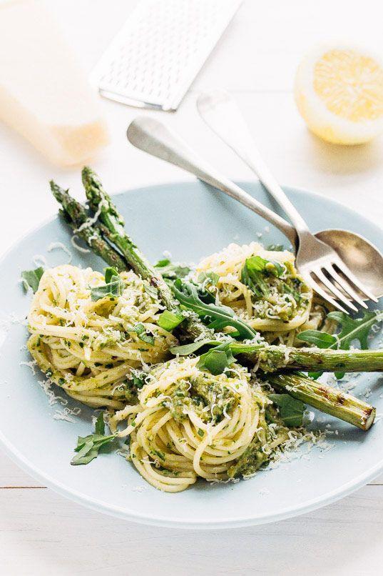 Pasta met gegrilde asperges en rucola - pasta with roasted asparagus and arugula