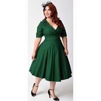 Unique Vintage Plus Size 1950s Style Emerald Green Delores Swing Dress - Plus Size - Dresses - Clothing    Unique Vintage