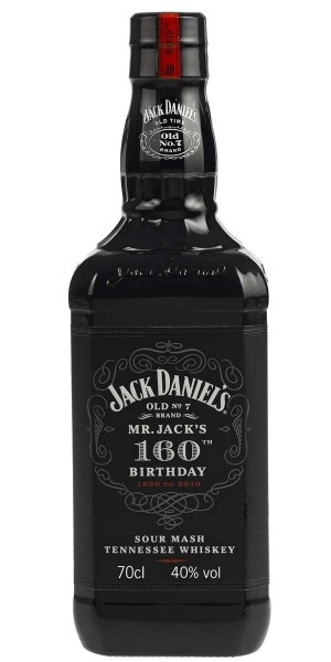 Jack Daniel's / 160th Birthday (1850-2010) 70cl / 40% Tennessee Whisky To celebrate Jack Daniel's 160th birthday, the distillery has released this natty black commemorative bottle. The contents are the best selling Jack Daniel's Original no.7.