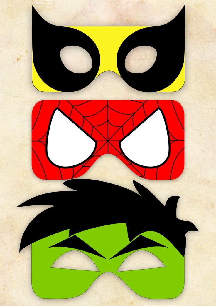 Superhero Mask Cut-Out 2 - Wolverine, Spiderman, Hulk - Choose One. £1.80, via Etsy.