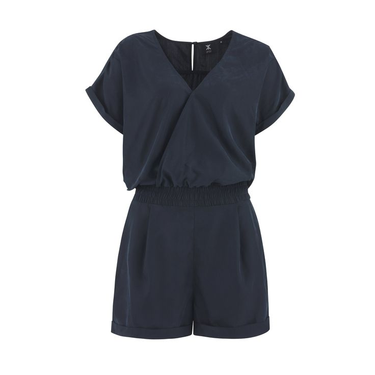 Opt for day-to-night style in this navy playsuit with an elasticated waist. Wear with strappy ankle tie sandals to perfect the look.