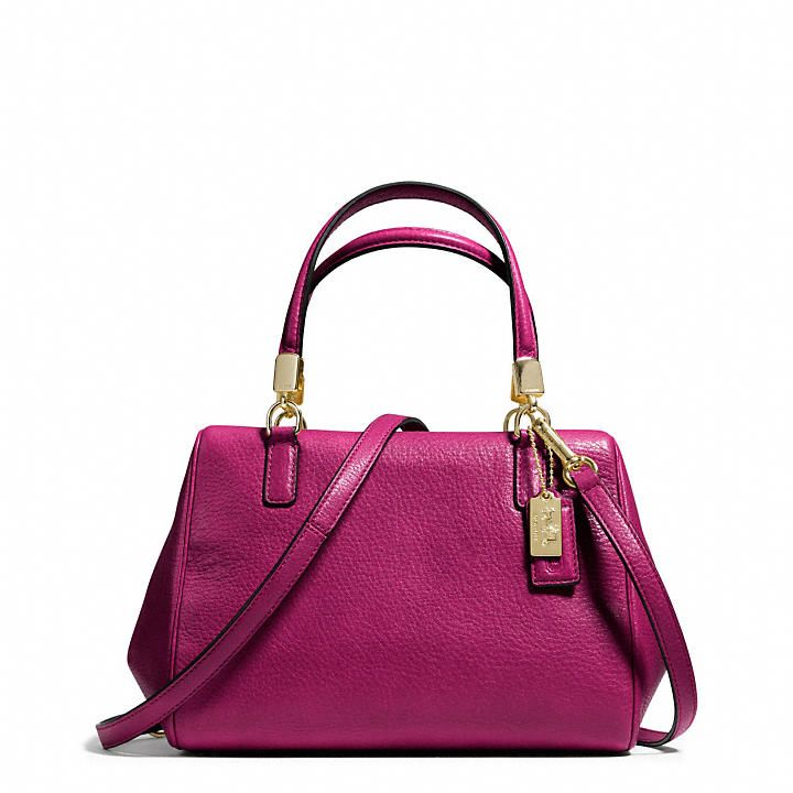 Coach  MADISON MINI SATCHEL IN LEATHERLeather Satchel, Coaches Handbags, Coaches Design, Design Handbags, Madison Handbags, Coaches Com, Coaches Madison, Minis Satchel, Madison Minis