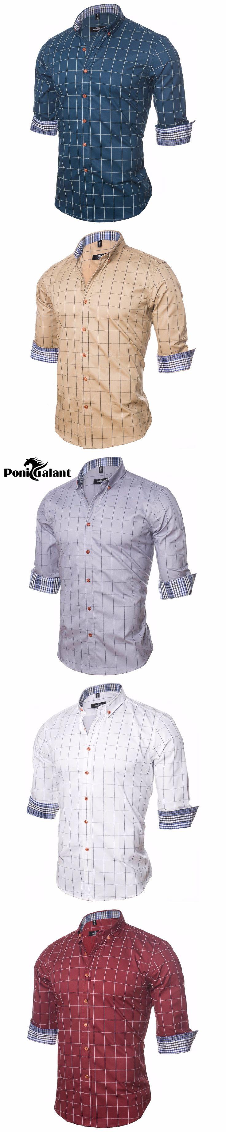PoniGalant Brand Clothing 100% Cotton Plaid Shirt Men High Quality Mens Business Dress Shirt Men Camisa Social Asian Size M-5XL