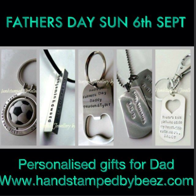 Timeless jewellery and gifts for Dad! All personalised with your names, words or message - order at www.handstampedbybeez.com