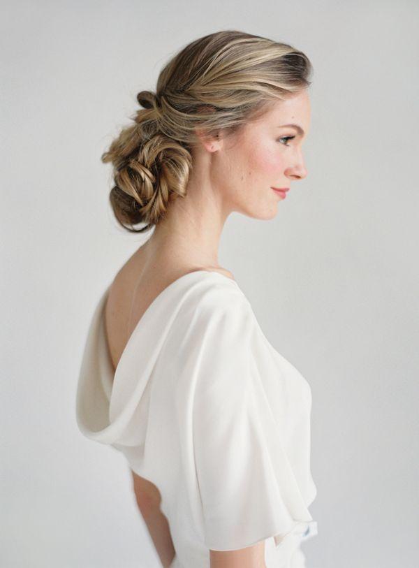 #Wedding #hair #updo loose pretty soft Winifred Bean Audrey Wedding Dress via oncewed.com