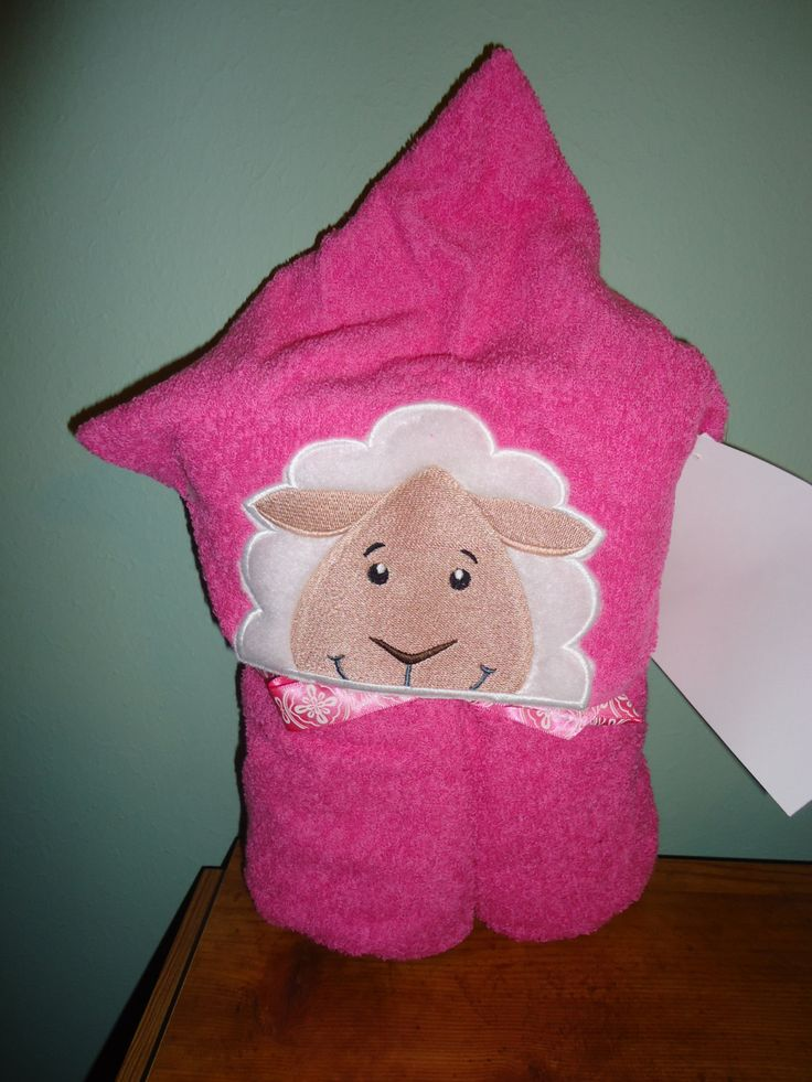 Lamb Hooded Bath Towel, Pink Towel, Lamb by Marshaslilcraftpatch on Etsy