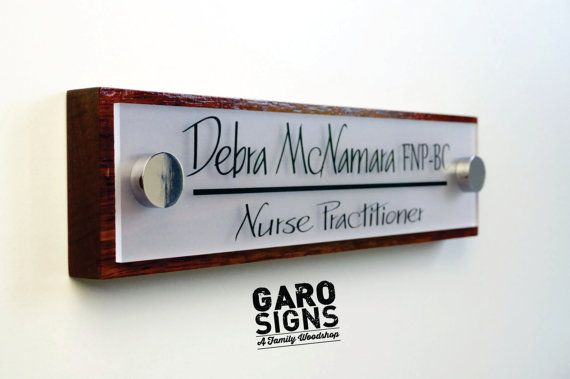 GaroSigns unique Door Nameplate – A true mark of the business professional. This personalized door sign has a gloss CHERRY finish and is made from one
