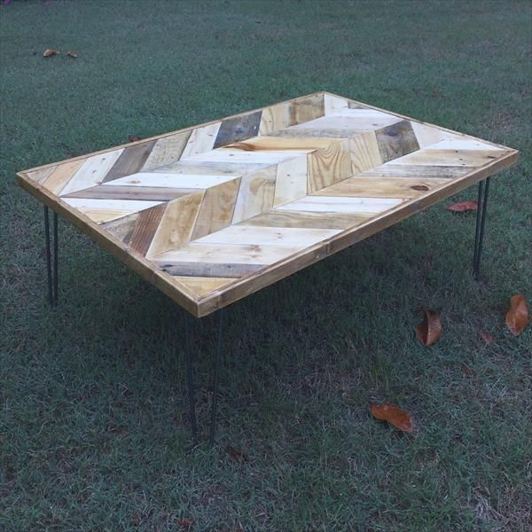 salvaged pallet double chevron coffee table