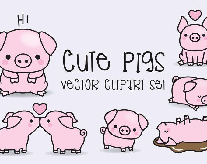 Premium Vector Clipart - vectores de alta calidad de cerdos - cerdos lindos Set de imágenes prediseñadas - Kawaii - descarga inmediata - imágenes prediseñadas Kawaii