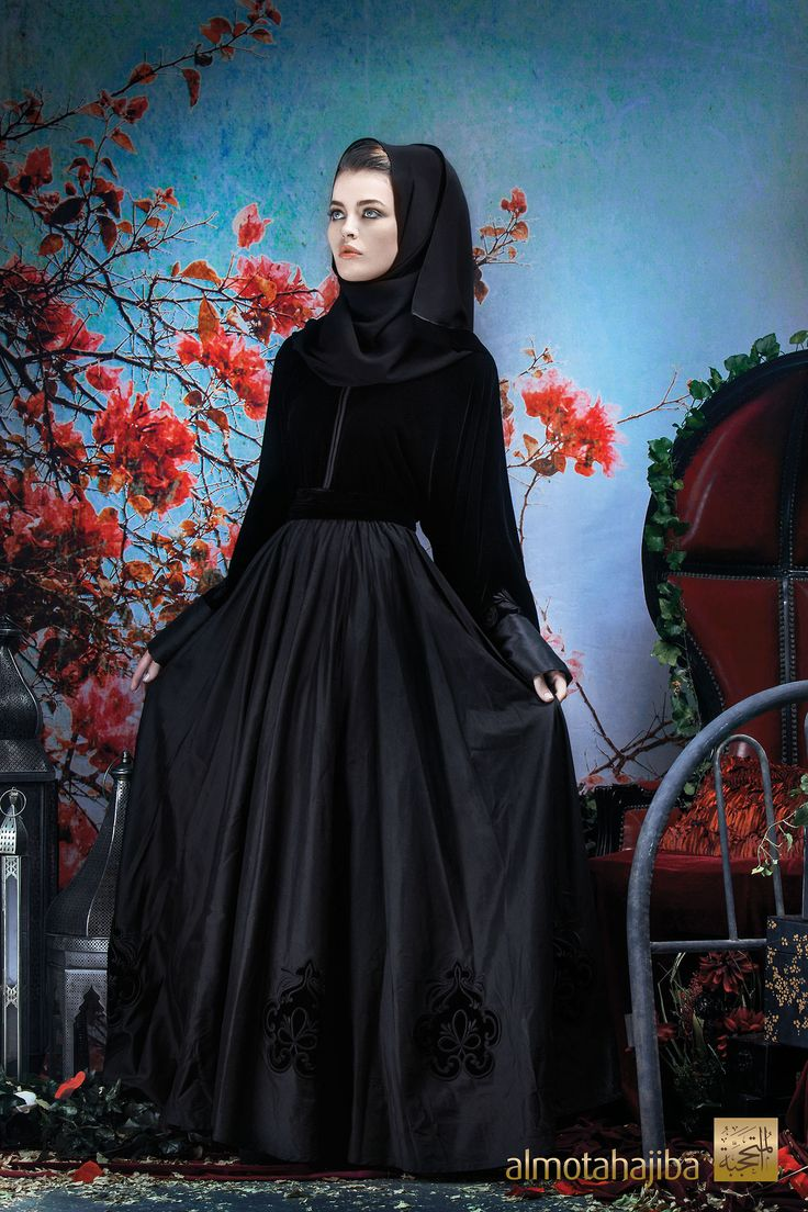 Abaya by Almotahajiba. Winter Collection 2013-2014. Raw silk and rich velvet.