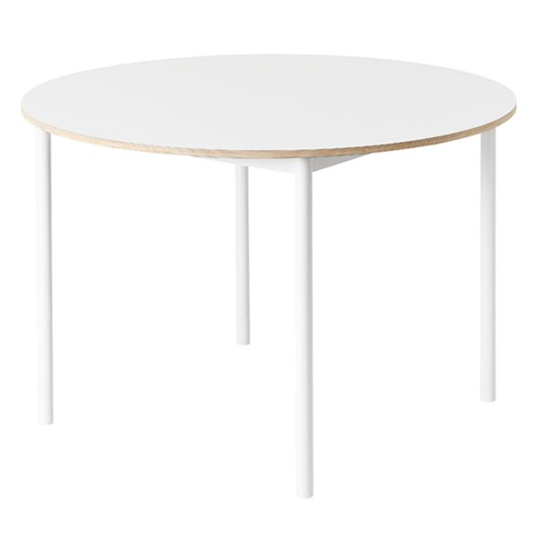 Base table round 110 cm, laminate with plywood edges, white, by Muuto.