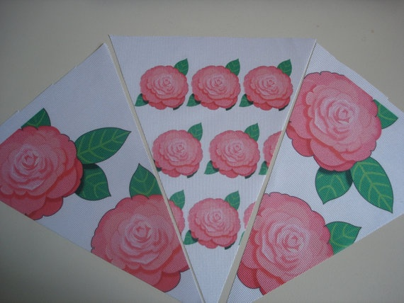 Fabric Bunting Pink Flower Combo by customflag on Etsy, $19.00