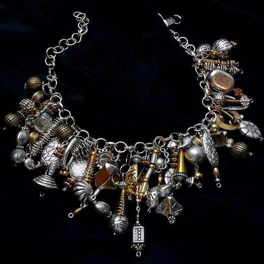 """Kaskada złoto-srebrna Naszyjnik niezwykle bogaty / Gold-Silver cascade.  Extremely """"rich"""" Necklace. Unique :)"""