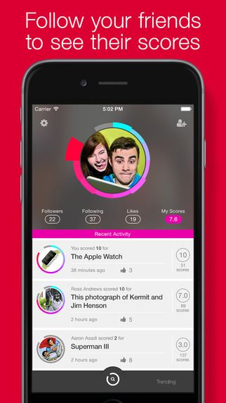 Just A Score - the new iPhone and Apple Watch app that let's you score things. Anything.
